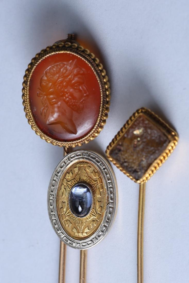 3 Piece Lot 14K & 18 k Gold Gemstone Stick Pins