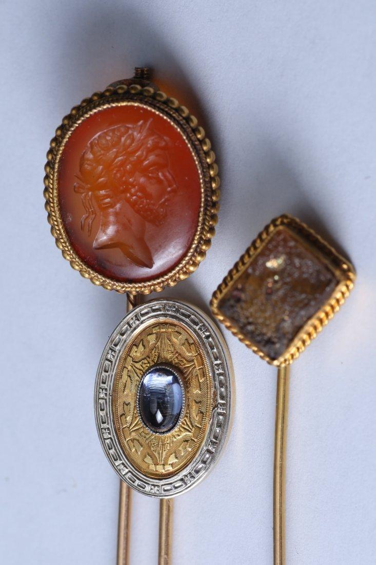 3 Piece Lot 14K & 18 k Gold Gemstone Stick Pins - 2