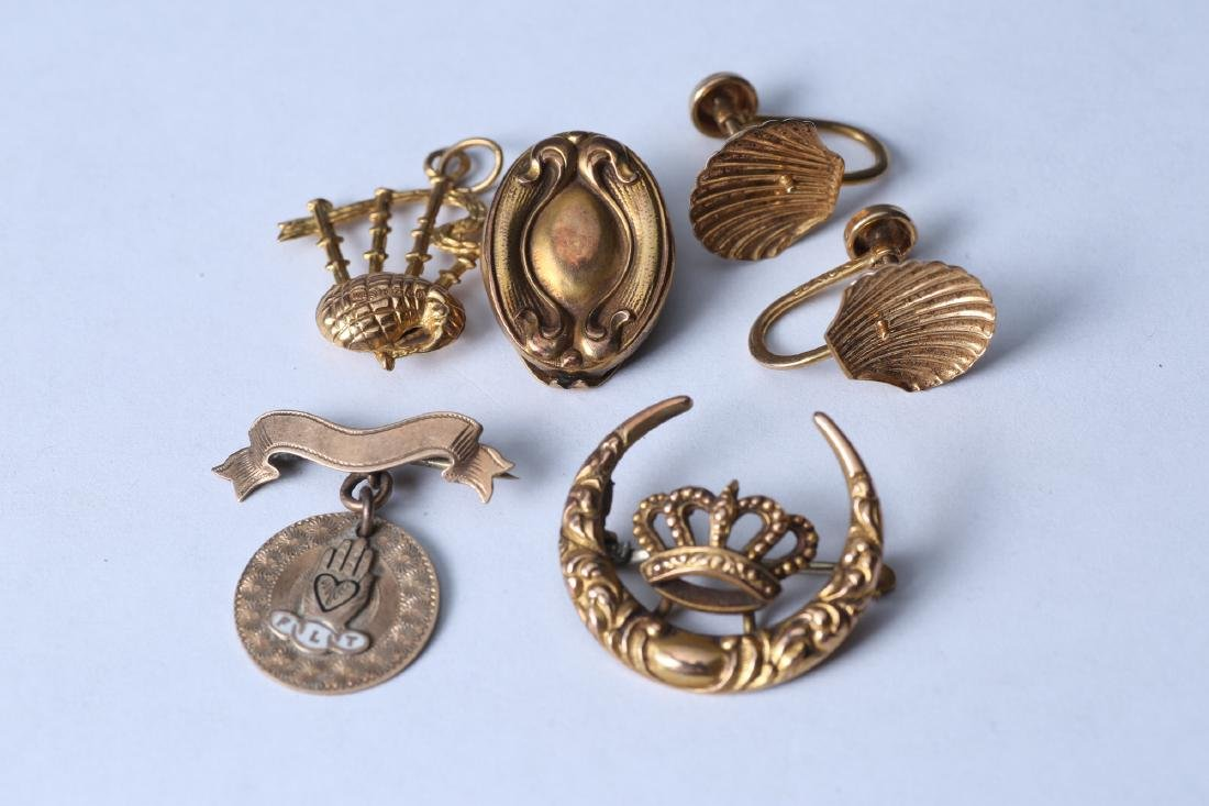 Vintage & Antique 10K Gold Jewelry, Incl Odd Fellows