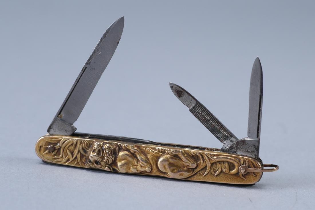 Vintage 14K Krusius Bros Tiger Pocket Knife, Ruby - 2