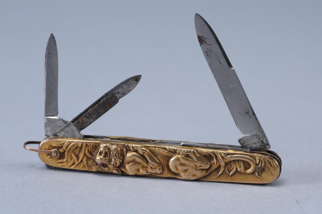 Vintage 14K Krusius Bros Tiger Pocket Knife, Ruby - 3