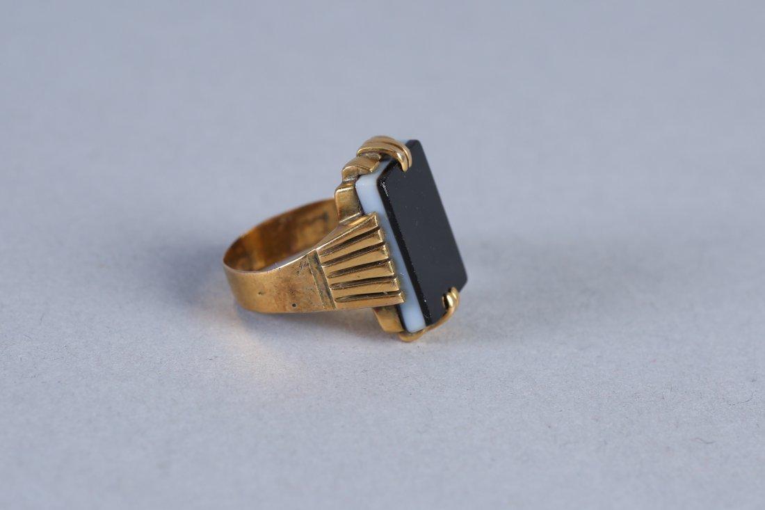 Antique 14K Gold Onyx Monogram Or Intaglio Ring, - 2