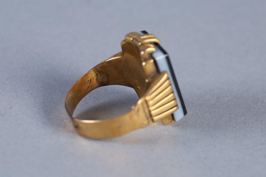 Antique 14K Gold Onyx Monogram Or Intaglio Ring, - 4