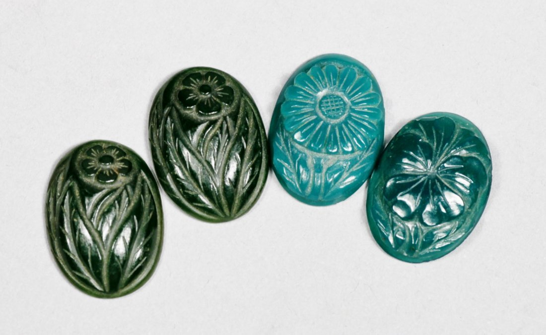 4 Green Floral Carved Oval Stones,