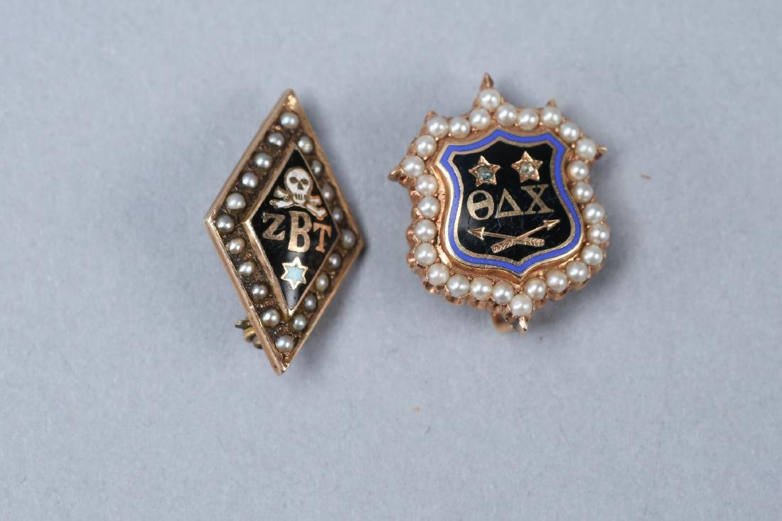 Antique 14K Gold/Pearl Sorority Brooches