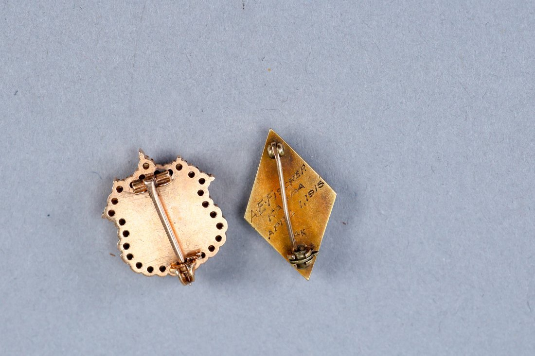 Antique 14K Gold/Pearl Sorority Brooches - 2