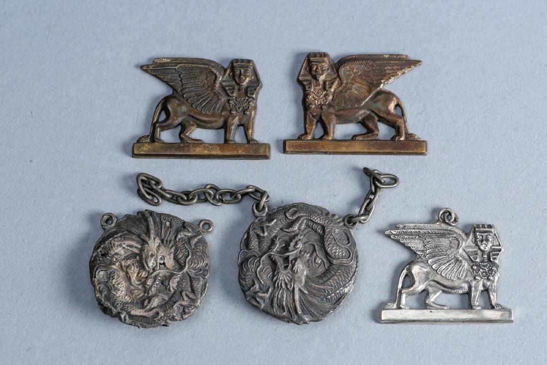 Misc lot of sphinx and dragon vintage designer sterling