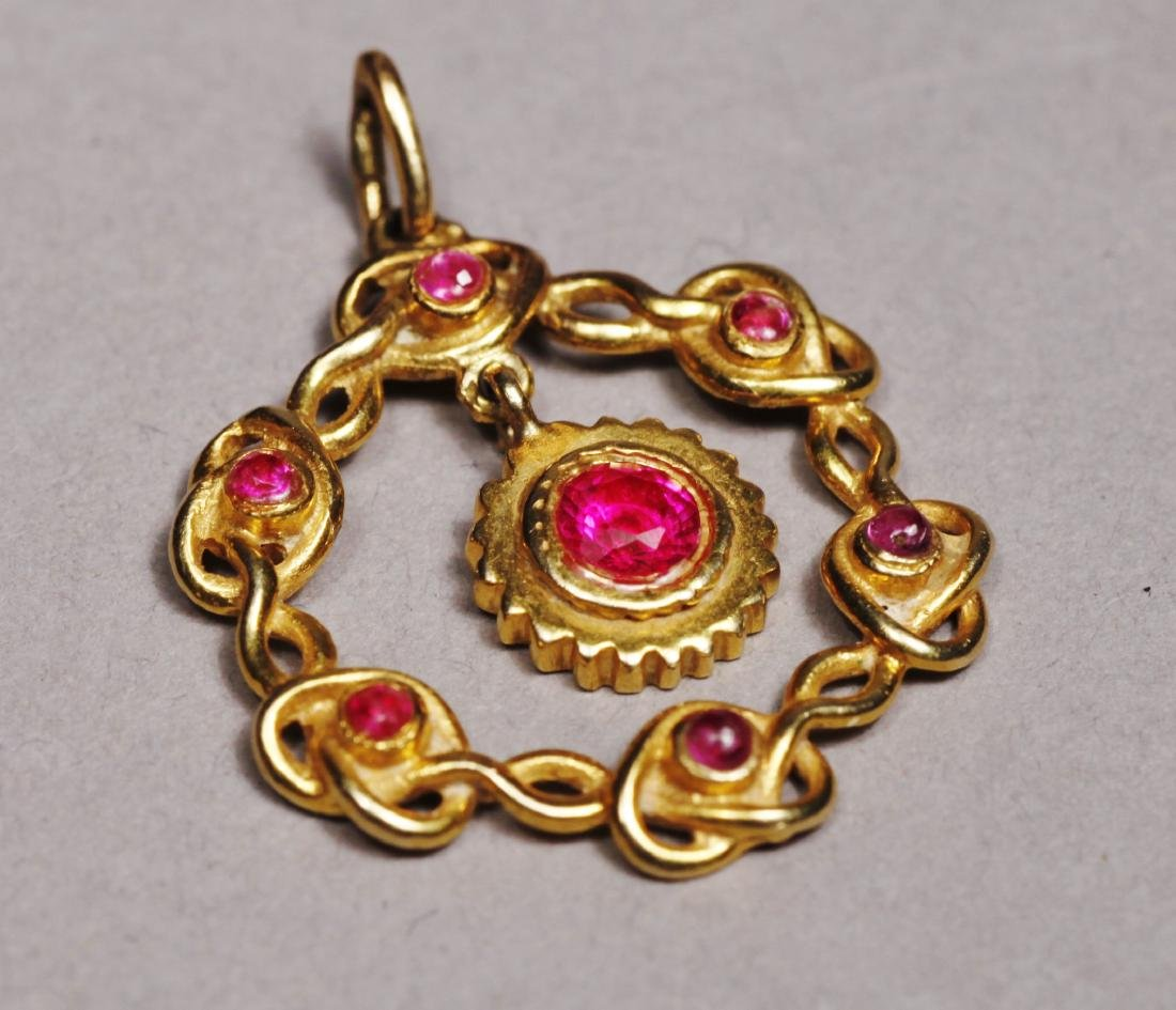 Edwardain 14 K Gold Red Stone Pendant