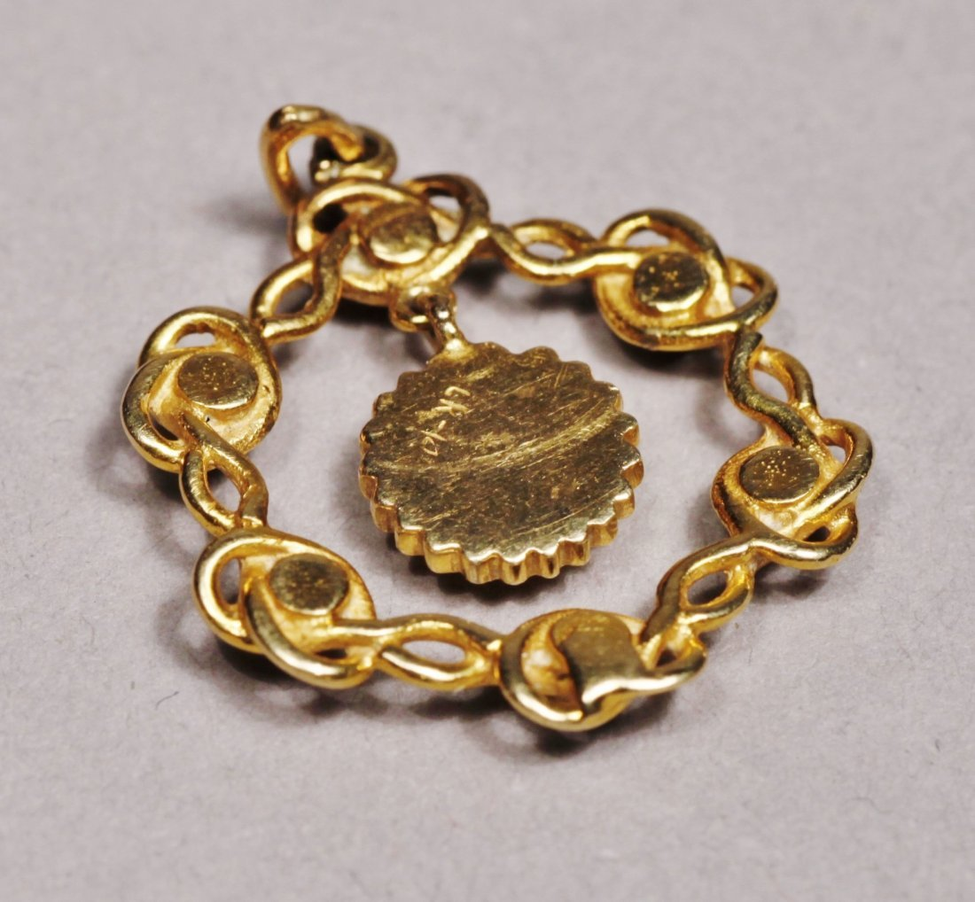 Edwardain 14 K Gold Red Stone Pendant - 2