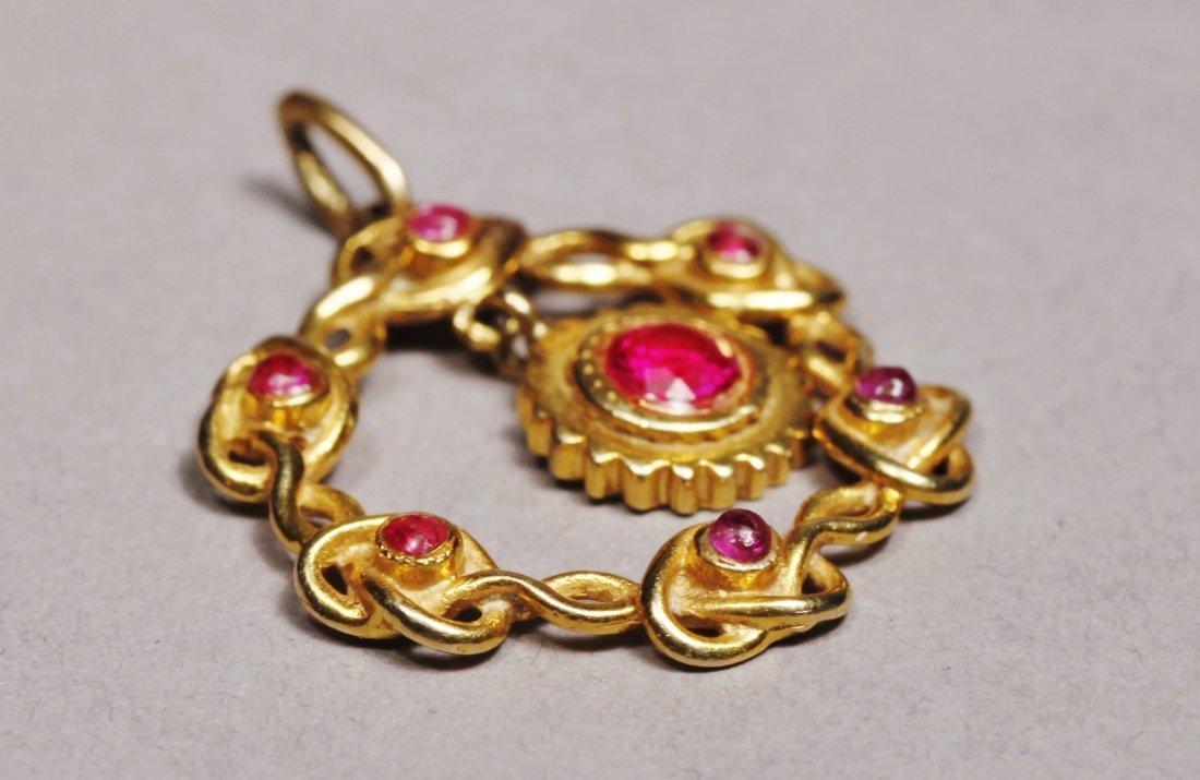 Edwardain 14 K Gold Red Stone Pendant - 3