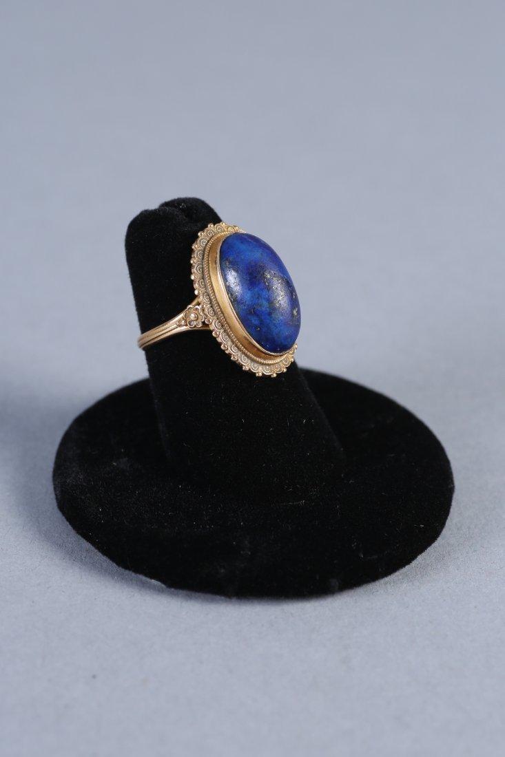 Vintage 18K Gold & Lapis Ring - 2