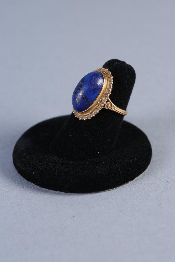 Vintage 18K Gold & Lapis Ring - 3