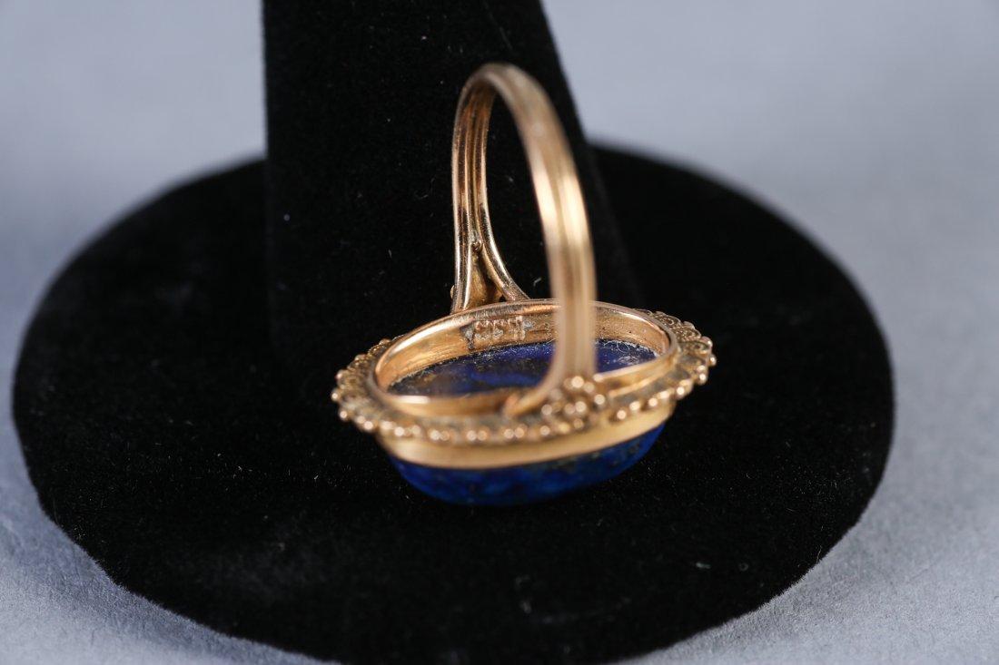 Vintage 18K Gold & Lapis Ring - 4