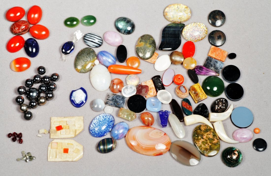Mixed Lot Assort. Gemstones Some Carved and Cabachons