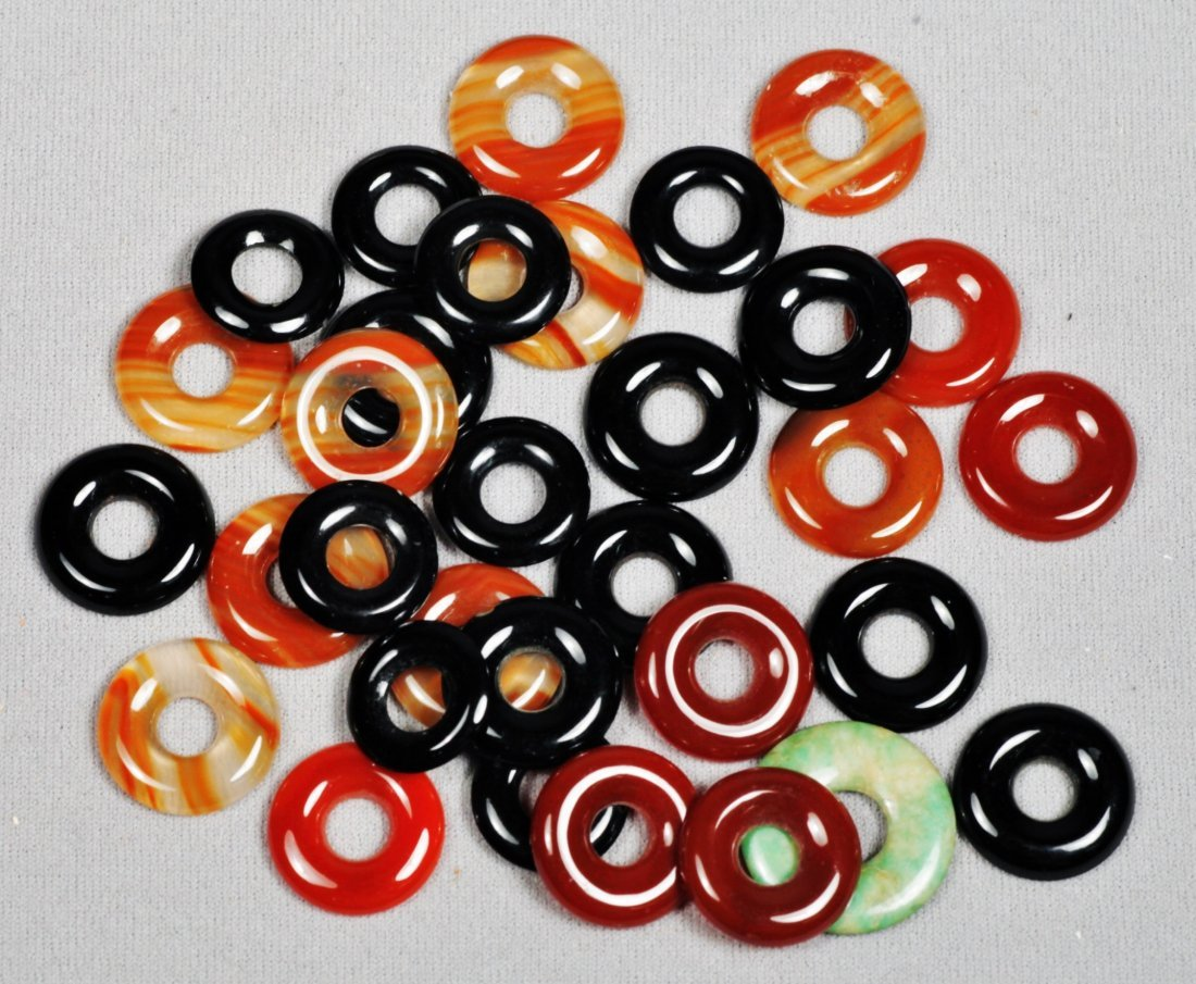 Lot of Various Sized Cut Circle Onyx and Carnelian - 2