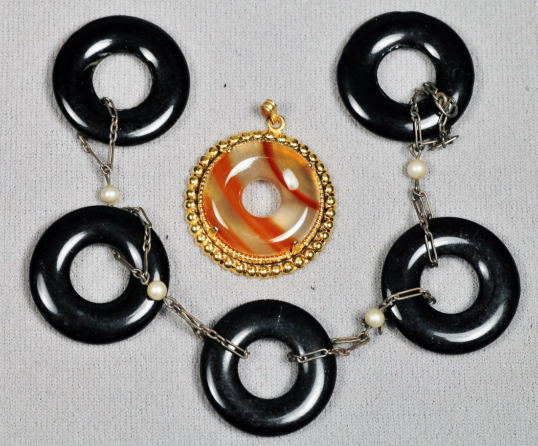 Lot of Various Sized Cut Circle Onyx and Carnelian - 3