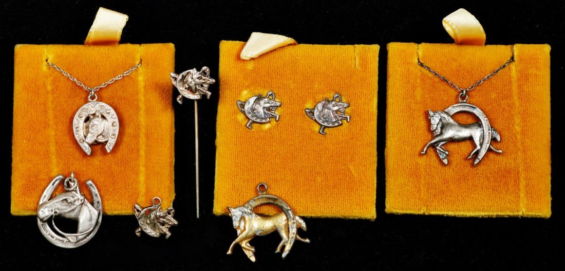 Horse related lot of 7, designer vintage sterling jewel