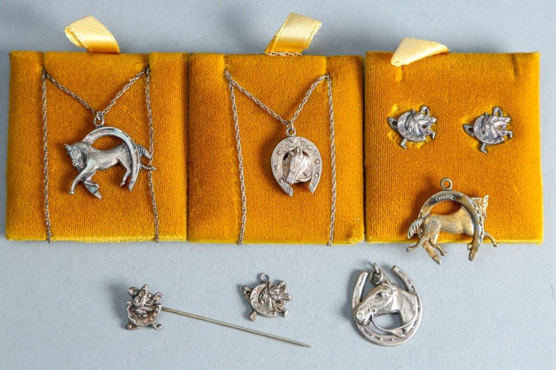 Horse related lot of 7, designer vintage sterling jewel - 2