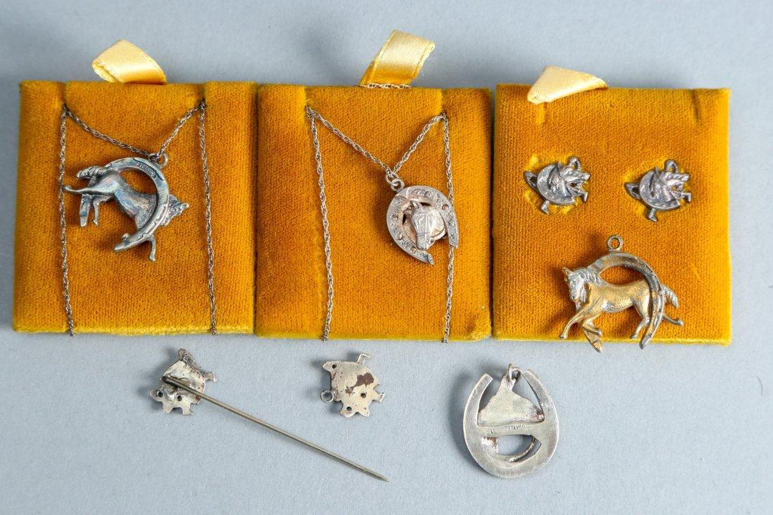 Horse related lot of 7, designer vintage sterling jewel - 3