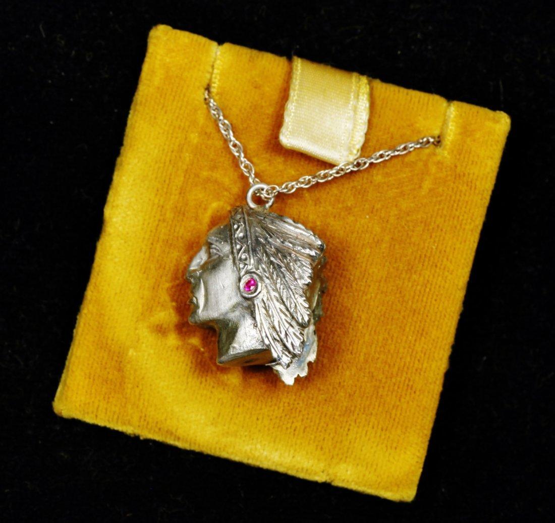 Vintage Designer Native American Necklace Sterling - 2