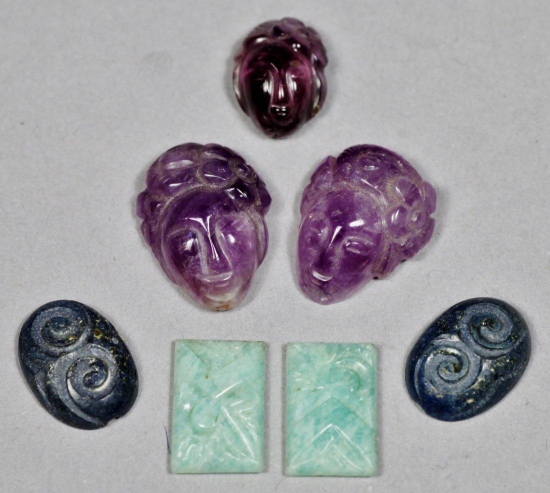 Carved Gemstone Lot, Chinese Jade