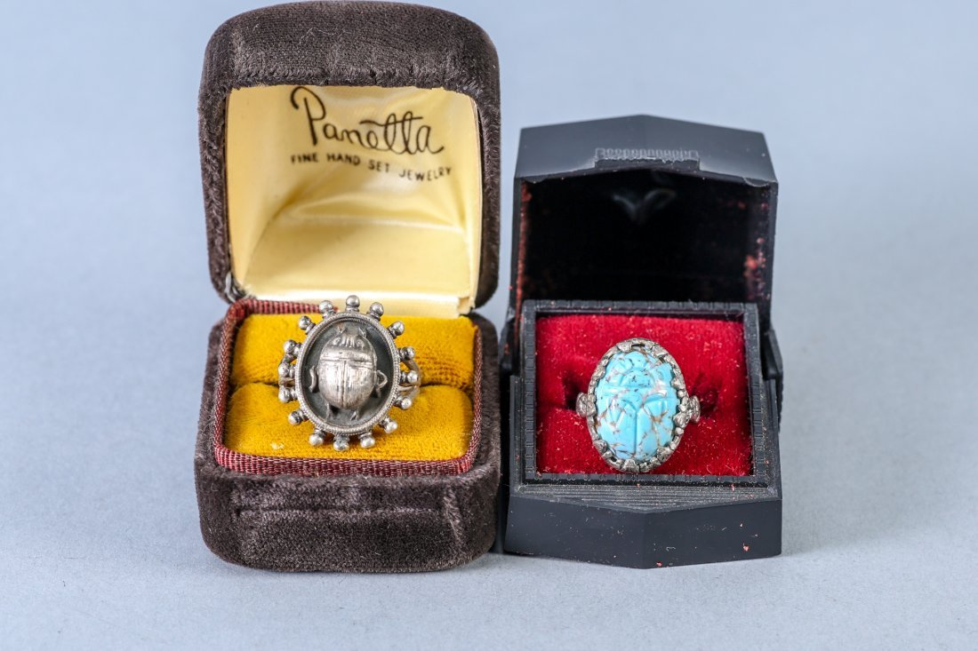 2 Vintage Designer Sterling Rings, Egyptain