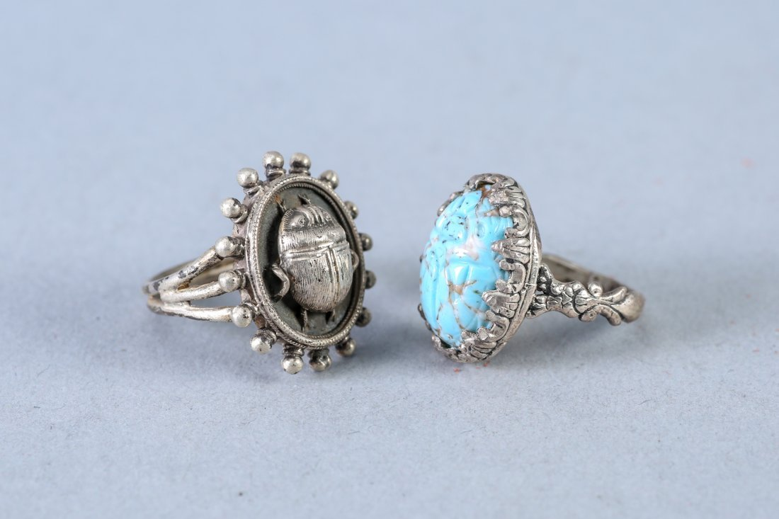 2 Vintage Designer Sterling Rings, Egyptain - 2