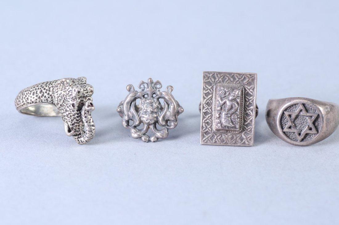 4 Vintage Designer Sterling Rings