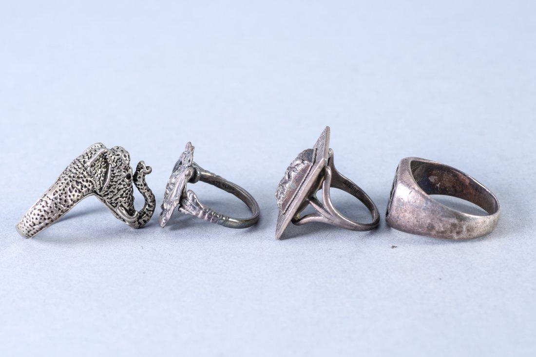 4 Vintage Designer Sterling Rings - 2