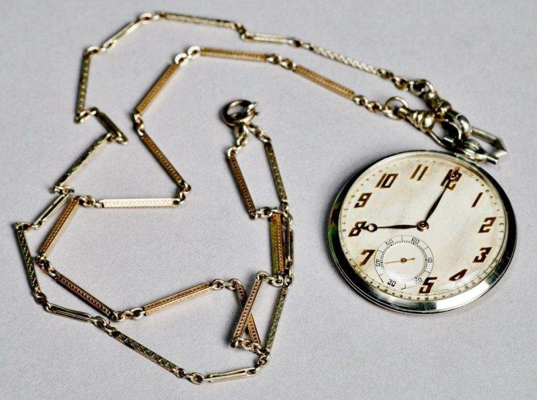 Vintage 18K White Gold Paul Ditishein Pocket Watch
