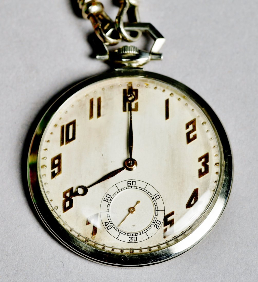 Vintage 18K White Gold Paul Ditishein Pocket Watch - 2
