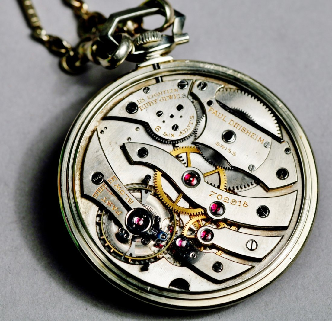 Vintage 18K White Gold Paul Ditishein Pocket Watch - 6