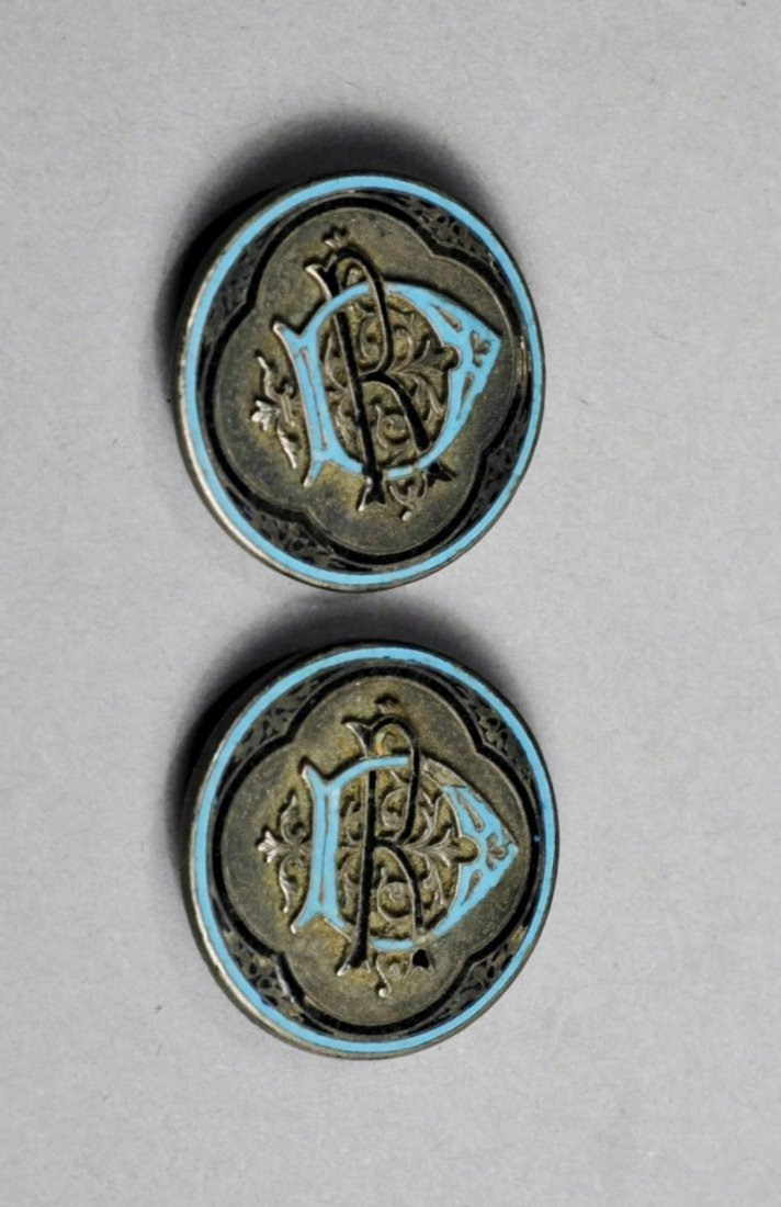 Antique Silver Enamel Cufflink
