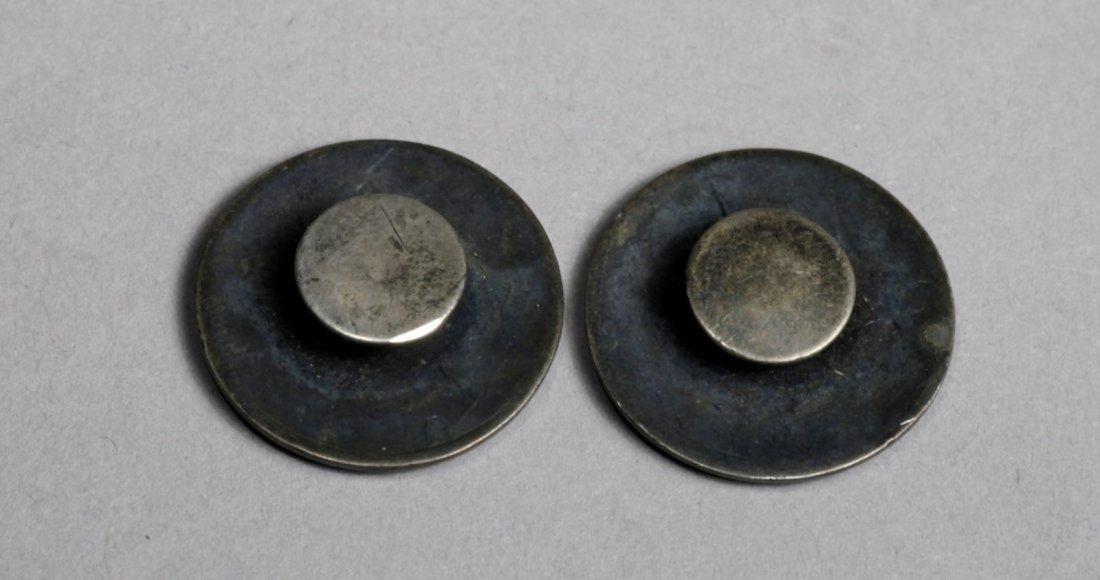 Antique Silver Enamel Cufflink - 2
