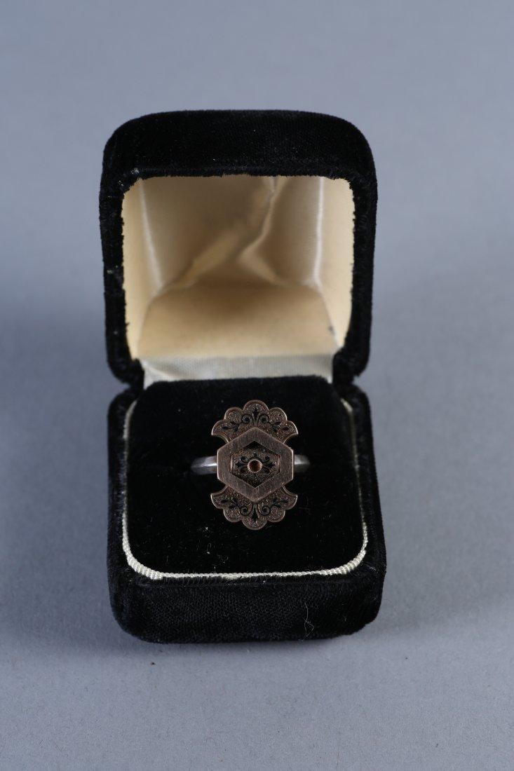 19th C 14K Gold, Black Enamel Ring