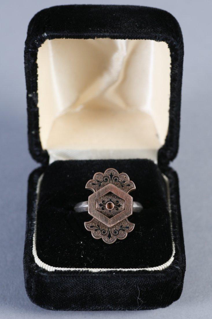19th C 14K Gold, Black Enamel Ring - 2