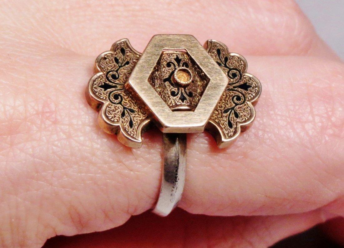 19th C 14K Gold, Black Enamel Ring - 4