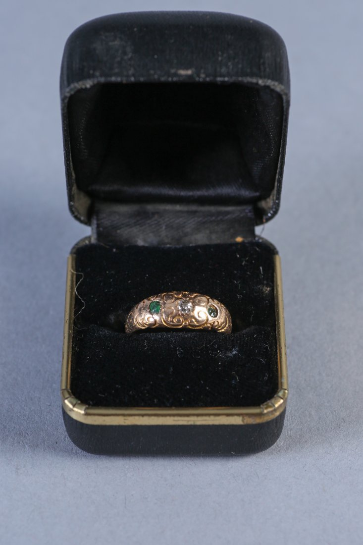 Victorian Gypsy Set Diamond/Emerald Ring 14K