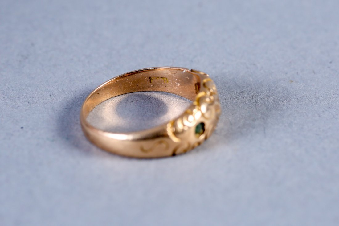 Victorian Gypsy Set Diamond/Emerald Ring 14K - 2