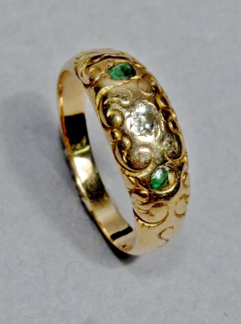 Victorian Gypsy Set Diamond/Emerald Ring 14K - 3