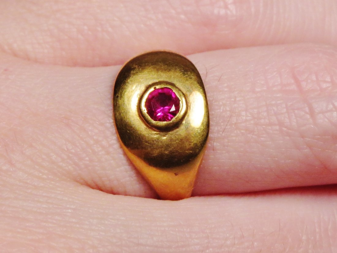 Antique 14K Gold & Ruby Ring Victorian - 3