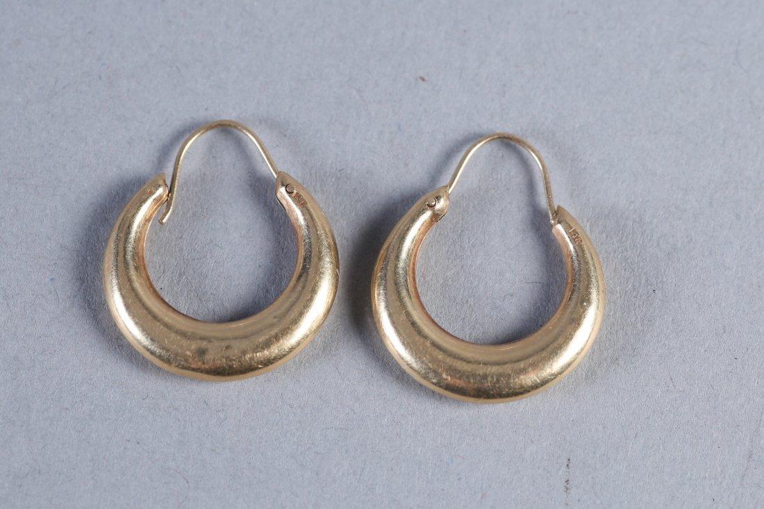 Vintage 14K Hoop Earrings - 2