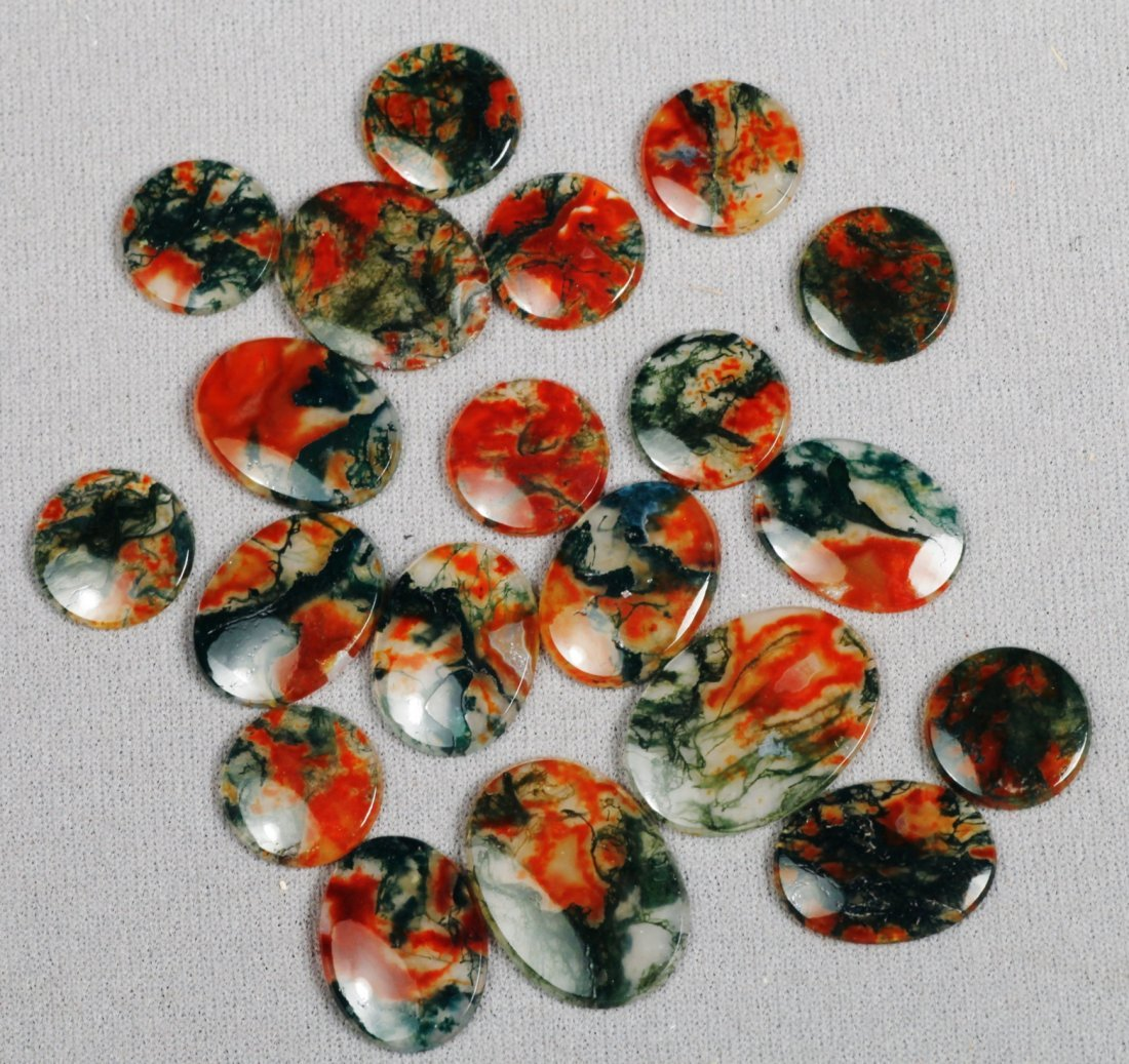 Polished Moss Agate Discs