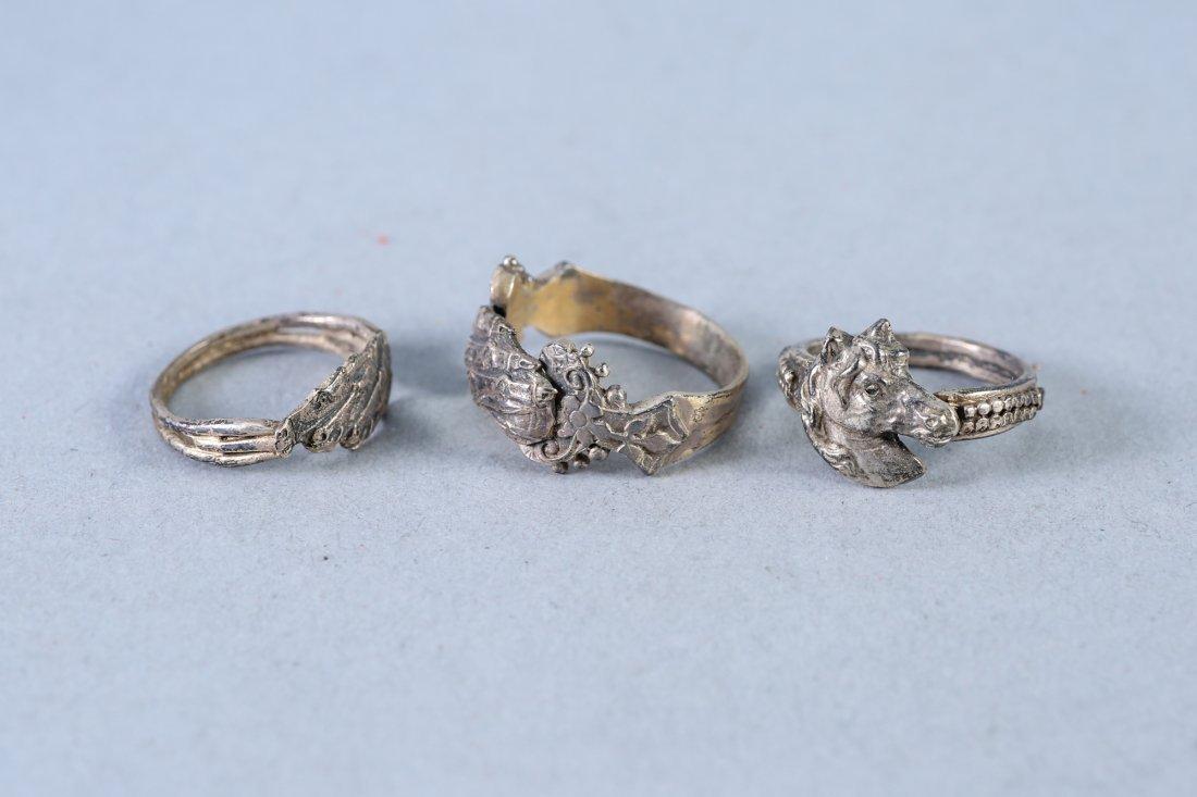 Sterling Horse Motif Designer Rings - 2