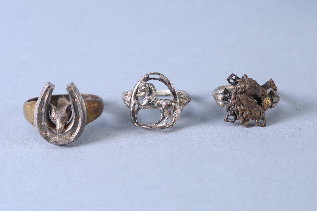 3 Vintage Designer Rings Sterling - 5