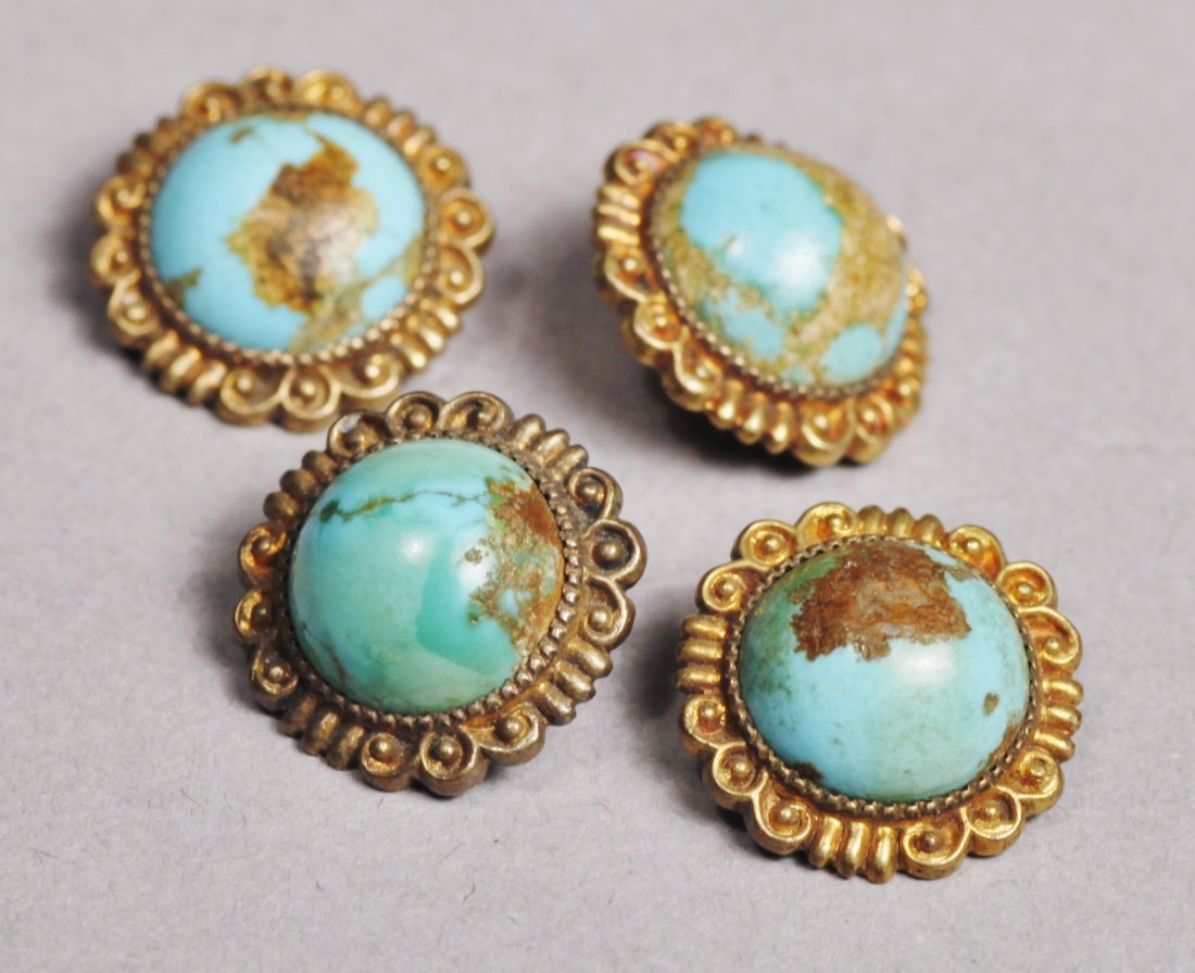 Antique Lot, Buttons/Brass and Turquoise Victorian