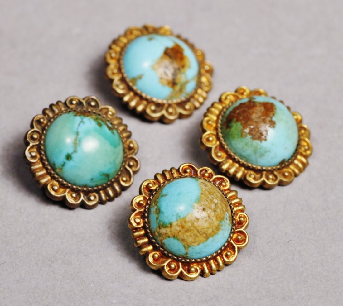 Antique Lot, Buttons/Brass and Turquoise Victorian - 3
