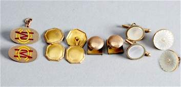 9K and 10K Antique cuff link lot Victorian