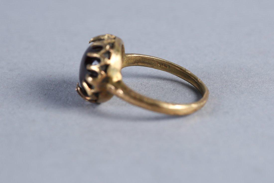 Antique 18K Gold & Garnet Cabochon Ring  Victorian - 2