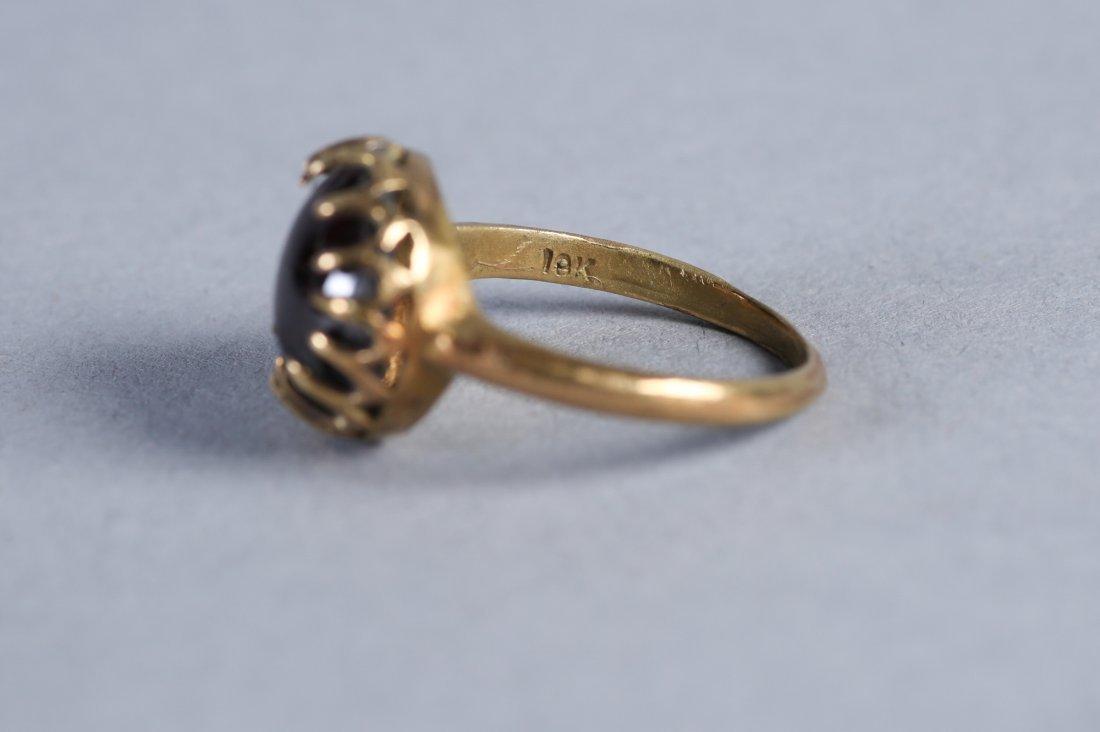 Antique 18K Gold & Garnet Cabochon Ring  Victorian - 3